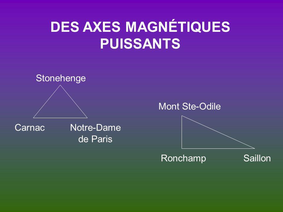 DES AXES MAGNÉTIQUES PUISSANTS Stonehenge Mont Ste-Odile Notre-Dame de Paris Carnac SaillonRonchamp
