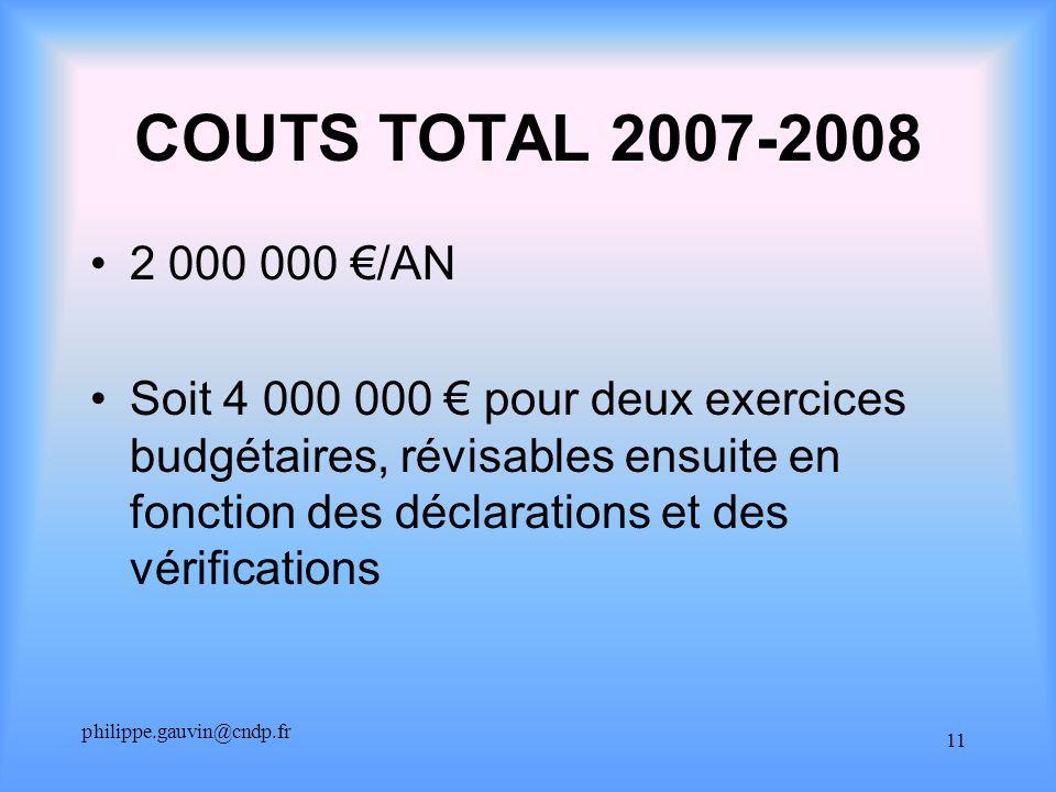 philippe.gauvin@cndp.fr 11 COUTS TOTAL 2007-2008 2 000 000 /AN Soit 4 000 000 pour deux exercices budgétaires, révisables ensuite en fonction des déclarations et des vérifications