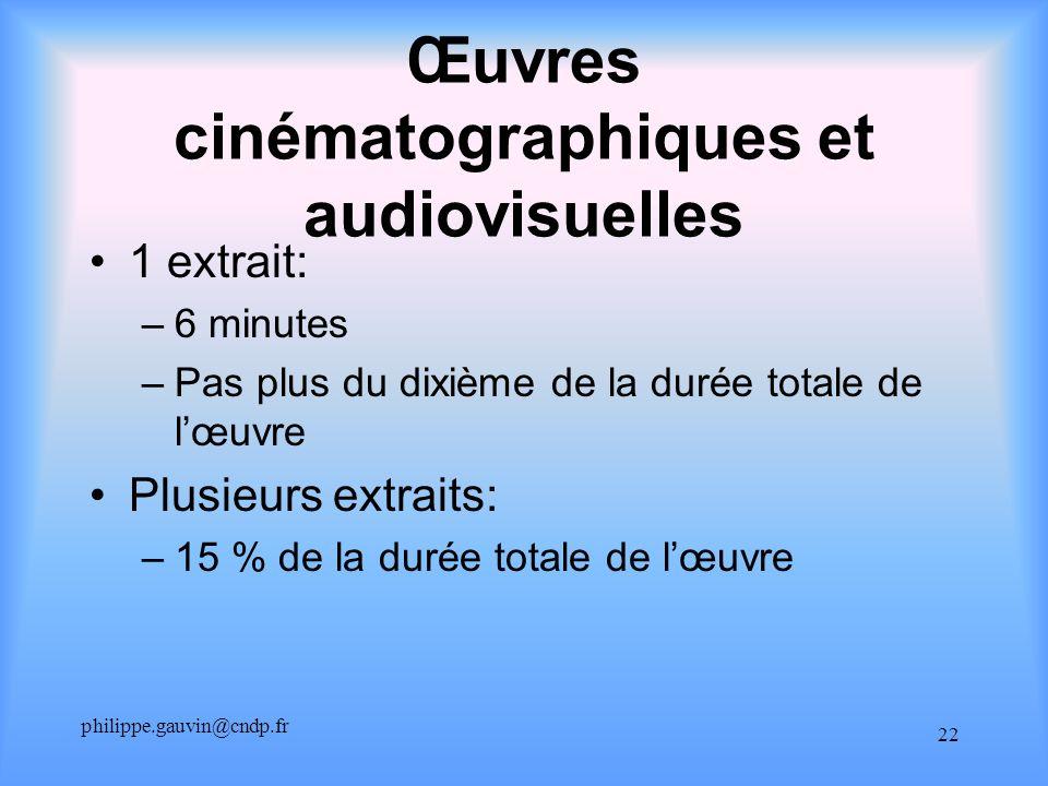 philippe.gauvin@cndp.fr 22 Œuvres cinématographiques et audiovisuelles 1 extrait: –6 minutes –Pas plus du dixième de la durée totale de lœuvre Plusieu