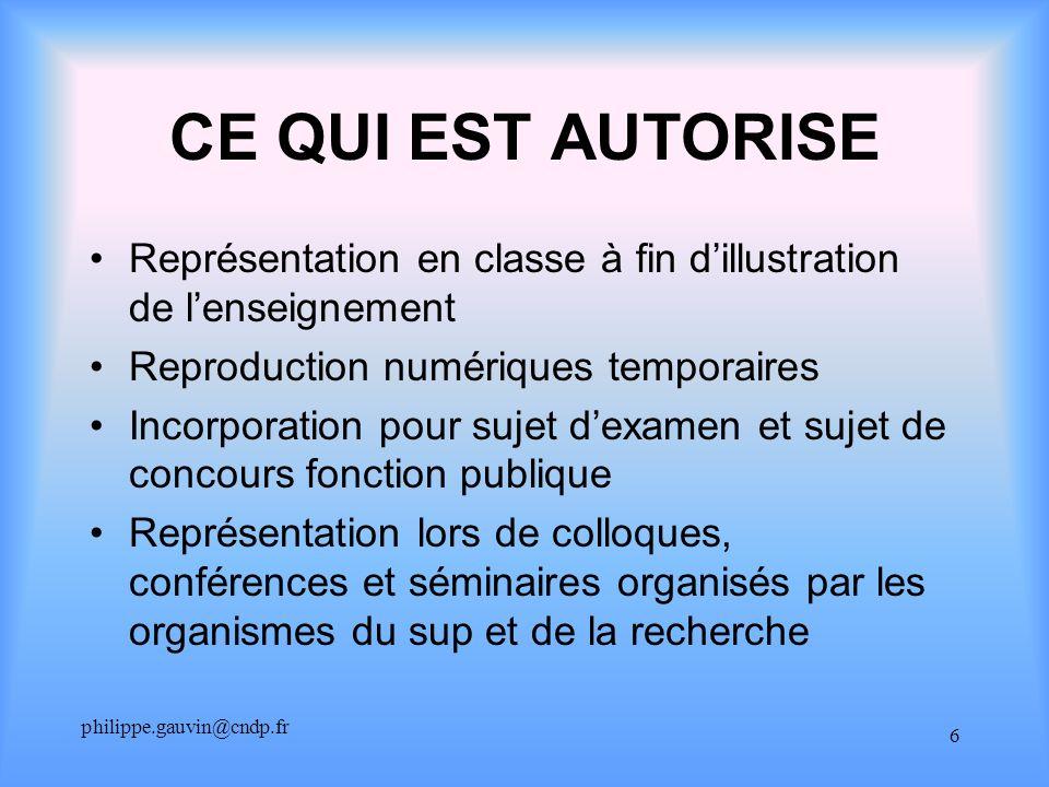 philippe.gauvin@cndp.fr 6 CE QUI EST AUTORISE Représentation en classe à fin dillustration de lenseignement Reproduction numériques temporaires Incorp