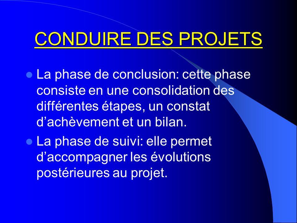CONDUIRE DES PROJETS La phase de conclusion: cette phase consiste en une consolidation des différentes étapes, un constat dachèvement et un bilan. La