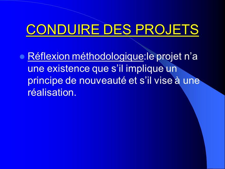 CONDUIRE DES PROJETS Réflexion méthodologique:le projet na une existence que sil implique un principe de nouveauté et sil vise à une réalisation.