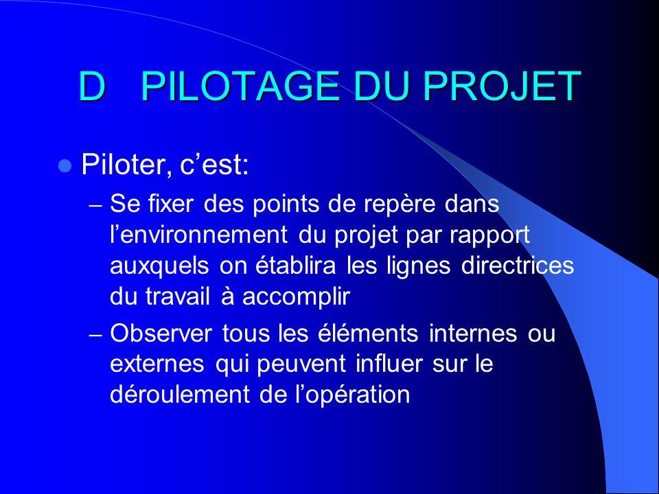 D PILOTAGE DU PROJET Piloter, cest: – Se fixer des points de repère dans lenvironnement du projet par rapport auxquels on établira les lignes directri
