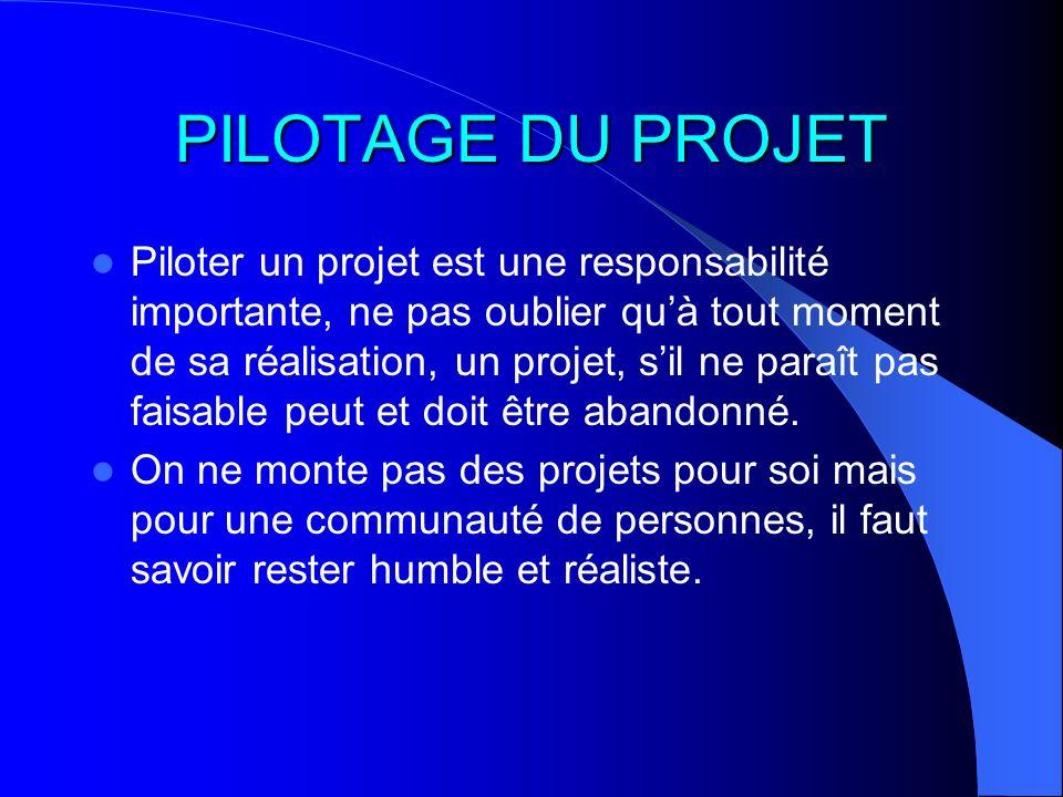 PILOTAGE DU PROJET Piloter un projet est une responsabilité importante, ne pas oublier quà tout moment de sa réalisation, un projet, sil ne paraît pas
