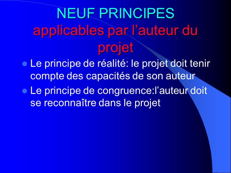 NEUF PRINCIPES applicables par lauteur du projet Le principe de réalité: le projet doit tenir compte des capacités de son auteur Le principe de congru
