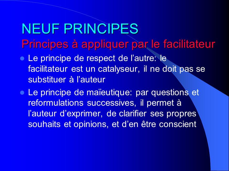 NEUF PRINCIPES Principes à appliquer par le facilitateur Le principe de respect de lautre: le facilitateur est un catalyseur, il ne doit pas se substi