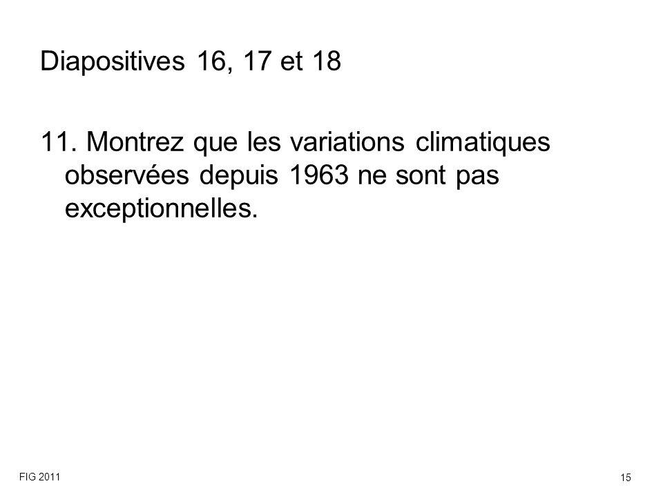 Diapositives 16, 17 et 18 11. Montrez que les variations climatiques observées depuis 1963 ne sont pas exceptionnelles. FIG 2011 15