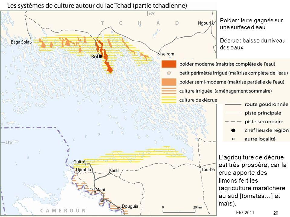 Polder : terre gagnée sur une surface deau Décrue : baisse du niveau des eaux Lagriculture de décrue est très prospère, car la crue apporte des limons