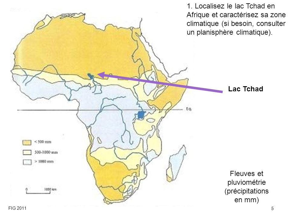 Lac Tchad Fleuves et pluviométrie (précipitations en mm) 1. Localisez le lac Tchad en Afrique et caractérisez sa zone climatique (si besoin, consulter