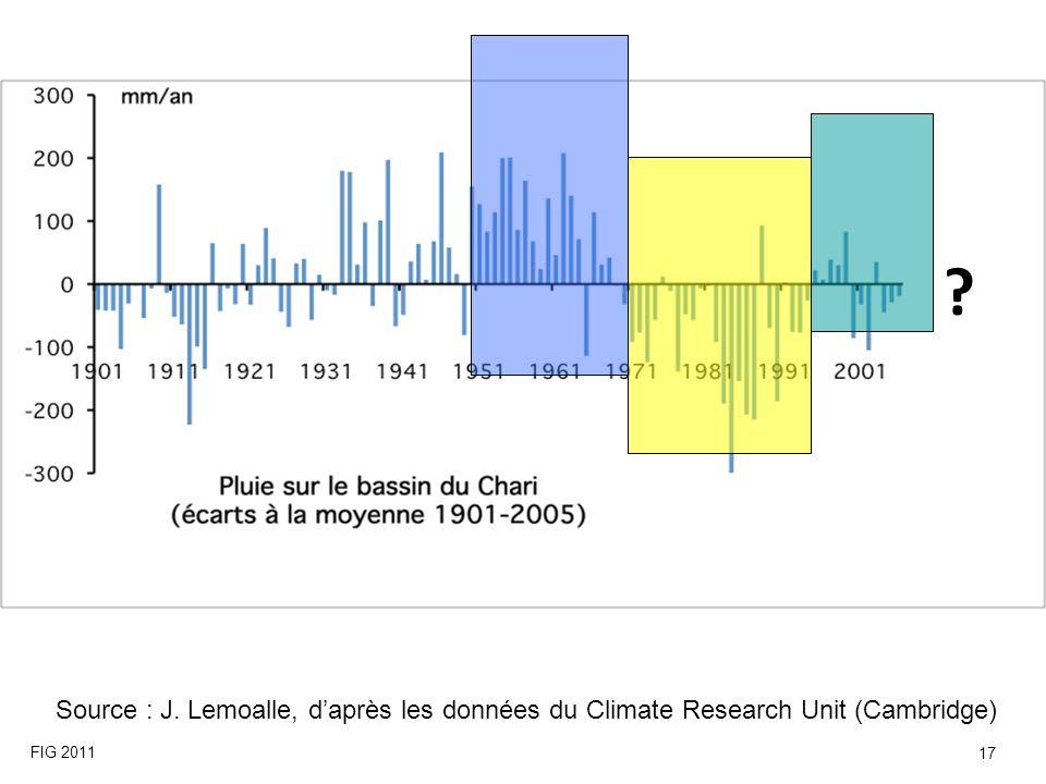 Source : J. Lemoalle, daprès les données du Climate Research Unit (Cambridge) ? FIG 2011 17