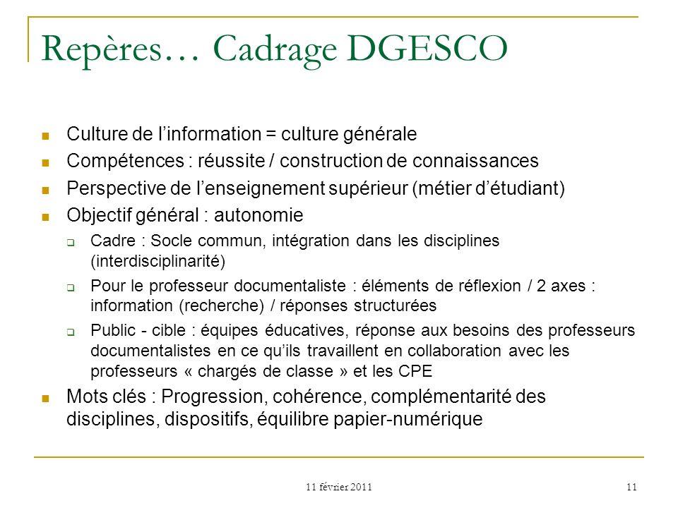 11 février 2011 11 Repères… Cadrage DGESCO Culture de linformation = culture générale Compétences : réussite / construction de connaissances Perspecti