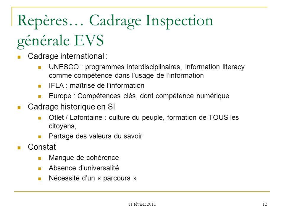 11 février 2011 12 Repères… Cadrage Inspection générale EVS Cadrage international : UNESCO : programmes interdisciplinaires, information literacy comm