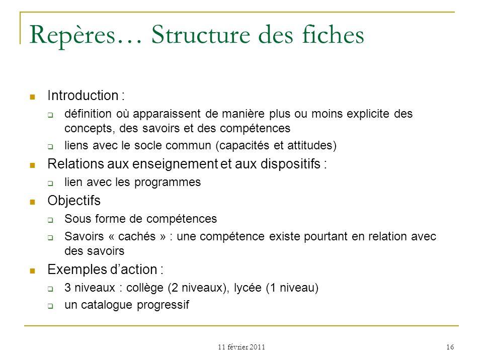 11 février 2011 16 Repères… Structure des fiches Introduction : définition où apparaissent de manière plus ou moins explicite des concepts, des savoir