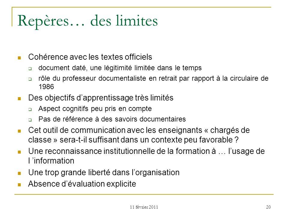 11 février 2011 20 Repères… des limites Cohérence avec les textes officiels document daté, une légitimité limitée dans le temps rôle du professeur doc