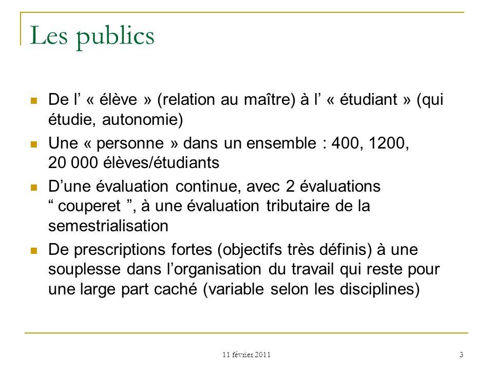 11 février 2011 3 Les publics De l « élève » (relation au maître) à l « étudiant » (qui étudie, autonomie) Une « personne » dans un ensemble : 400, 12