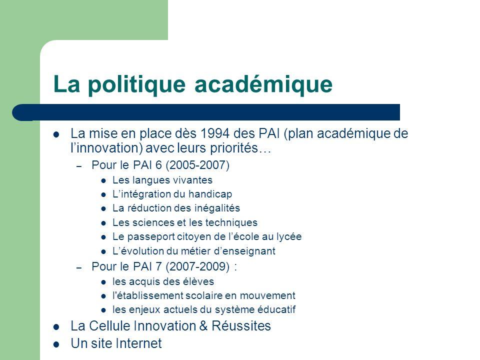 La politique académique La mise en place dès 1994 des PAI (plan académique de linnovation) avec leurs priorités… – Pour le PAI 6 (2005-2007) Les langu
