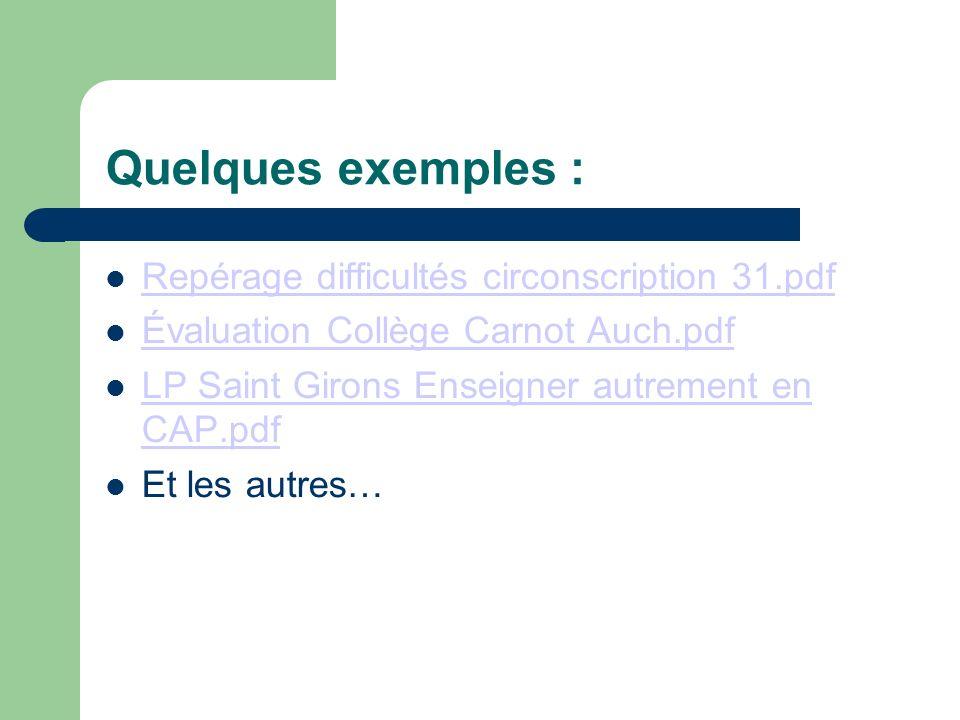 Quelques exemples : Repérage difficultés circonscription 31.pdf Évaluation Collège Carnot Auch.pdf LP Saint Girons Enseigner autrement en CAP.pdf LP S