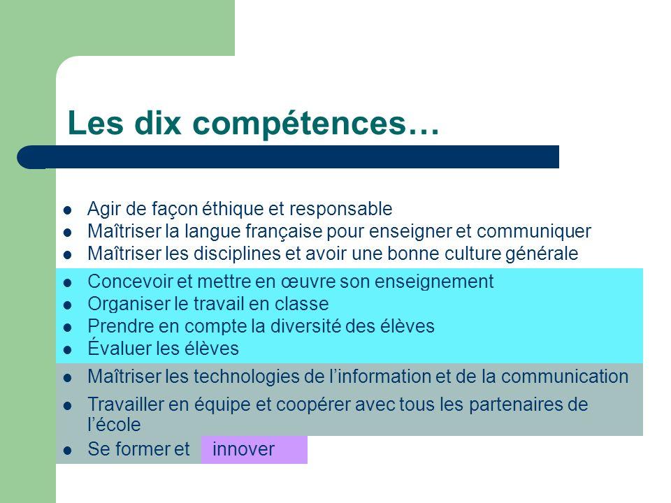 Maîtriser la langue française pour enseigner et communiquer Les dix compétences… Agir de façon éthique et responsable Maîtriser les disciplines et avo