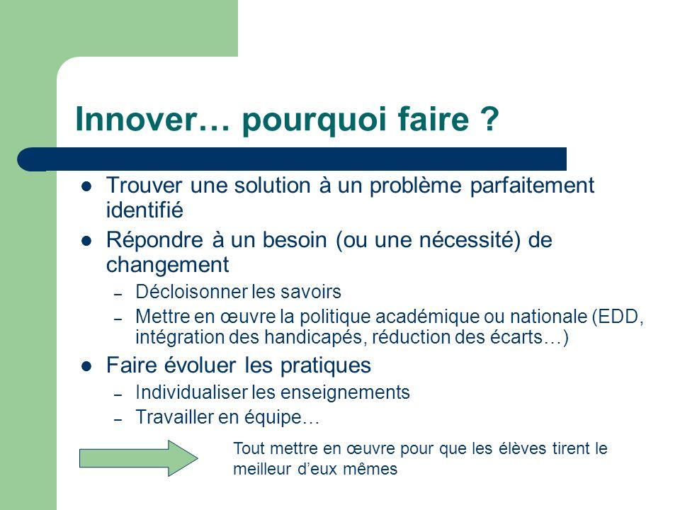 Innover… pourquoi faire ? Trouver une solution à un problème parfaitement identifié Répondre à un besoin (ou une nécessité) de changement – Décloisonn