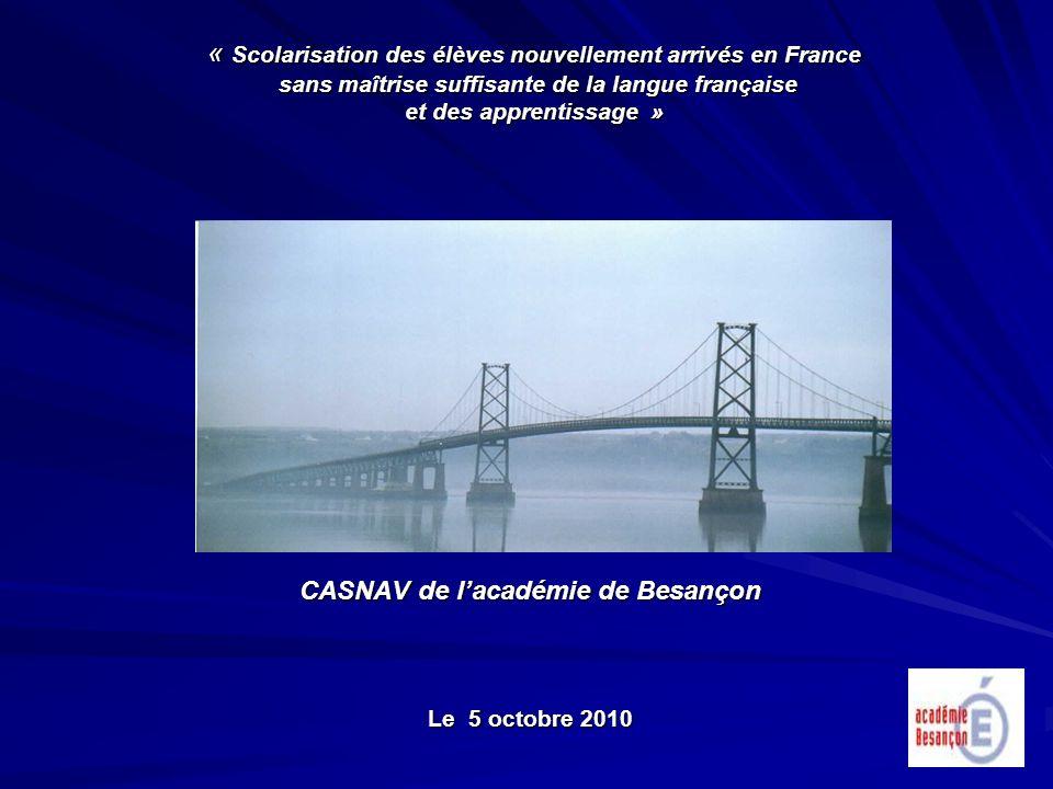 « Scolarisation des élèves nouvellement arrivés en France sans maîtrise suffisante de la langue française et des apprentissage » CASNAV de lacadémie d