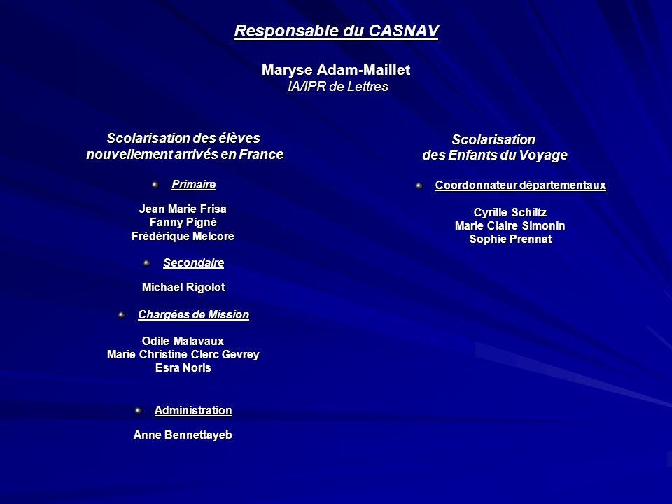 Responsable du CASNAV Maryse Adam-Maillet IA/IPR de Lettres Scolarisation des élèves nouvellement arrivés en France nouvellement arrivés en FrancePrim