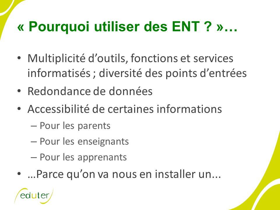 « Pourquoi utiliser des ENT ? »… Multiplicité doutils, fonctions et services informatisés ; diversité des points dentrées Redondance de données Access