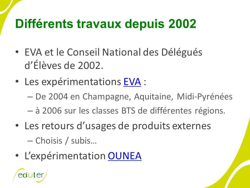 Différents travaux depuis 2002 EVA et le Conseil National des Délégués dÉlèves de 2002. Les expérimentations EVA :EVA – De 2004 en Champagne, Aquitain