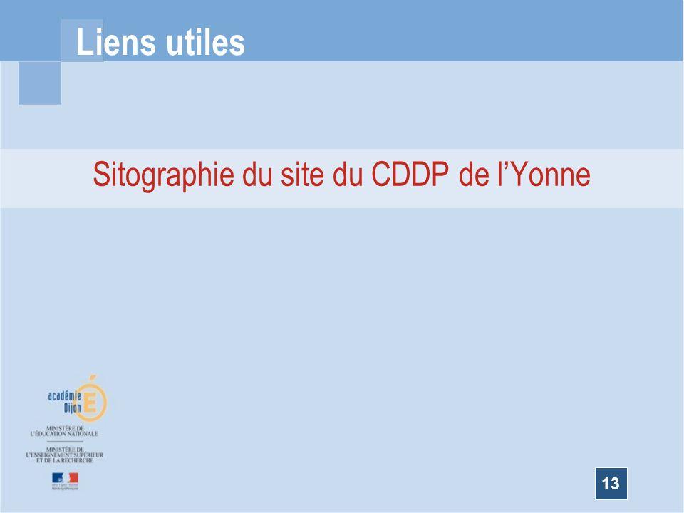 13 Liens utiles Sitographie du site du CDDP de lYonne