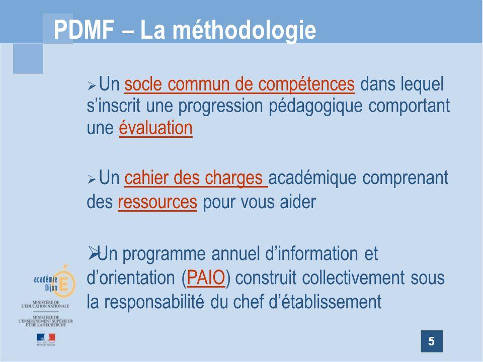 5 PDMF – La méthodologie Un socle commun de compétences dans lequel sinscrit une progression pédagogique comportant une évaluationsocle commun de comp