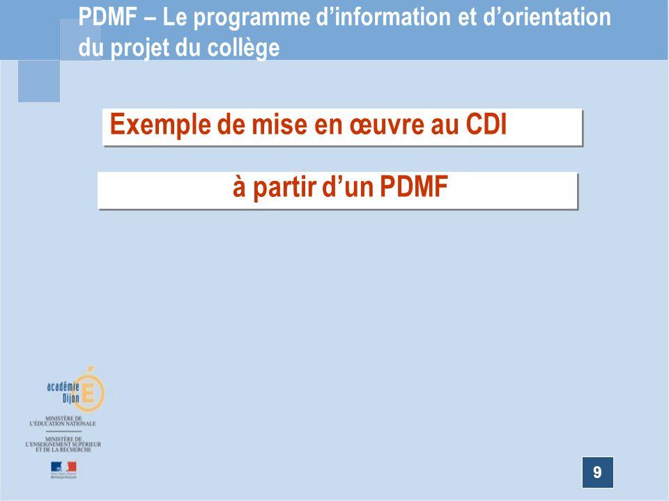 9 PDMF – Le programme dinformation et dorientation du projet du collège Exemple de mise en œuvre au CDI à partir dun PDMF