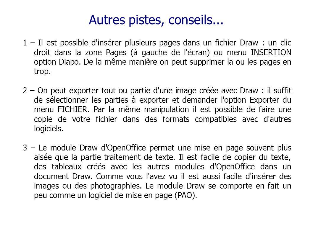Autres pistes, conseils... 1 – Il est possible d'insérer plusieurs pages dans un fichier Draw : un clic droit dans la zone Pages (à gauche de l'écran)