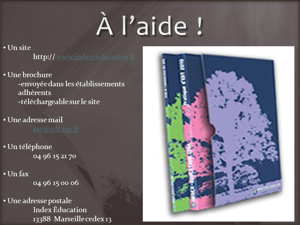 Un site http:// www.index-education.frwww.index-education.fr Une brochure -envoyée dans les établissements adhérents -téléchargeable sur le site Une a