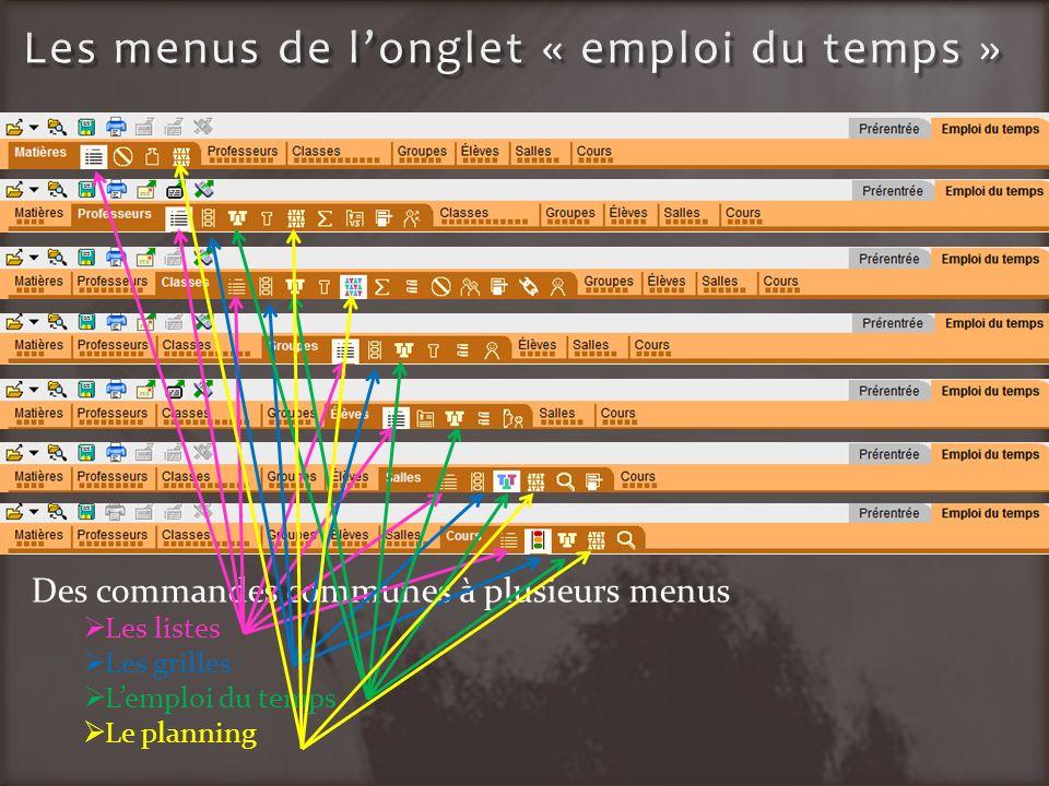 Des commandes communes à plusieurs menus Les listes Les grilles Lemploi du temps Le planning