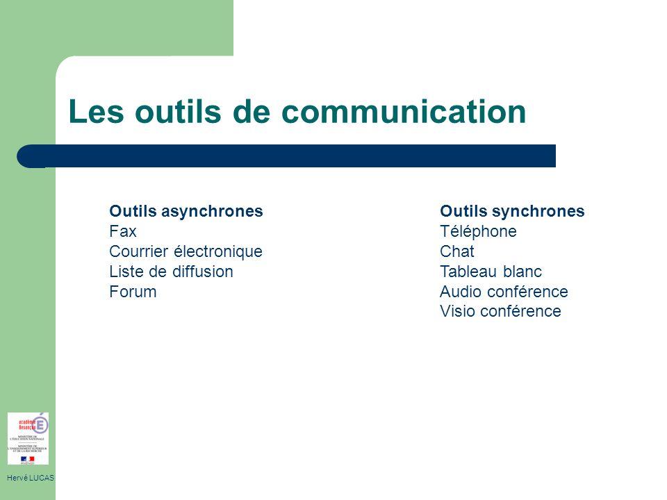Les outils de communication Hervé LUCAS Outils asynchrones Fax Courrier électronique Liste de diffusion Forum Outils synchrones Téléphone Chat Tableau