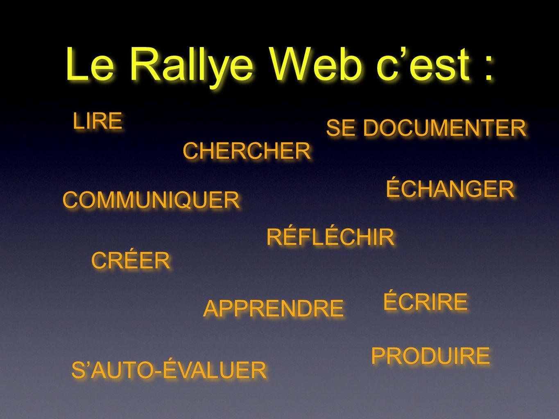 Le Rallye Web cest : LIRE COMMUNIQUER APPRENDRE RÉFLÉCHIR ÉCHANGER PRODUIRE SE DOCUMENTER CHERCHER ÉCRIRE SAUTO-ÉVALUER CRÉER