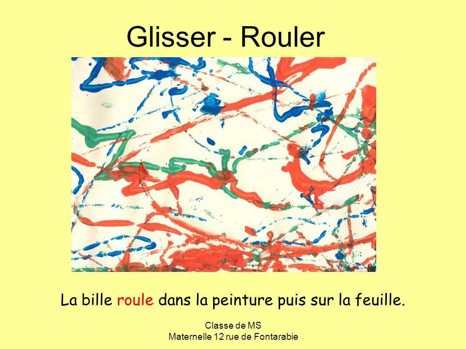 Classe de MS Maternelle 12 rue de Fontarabie Glisser - Rouler La bille roule dans la peinture puis sur la feuille.