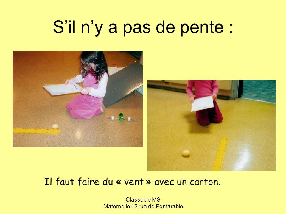 Classe de MS Maternelle 12 rue de Fontarabie Il faut faire du « vent » avec un carton. Sil ny a pas de pente :