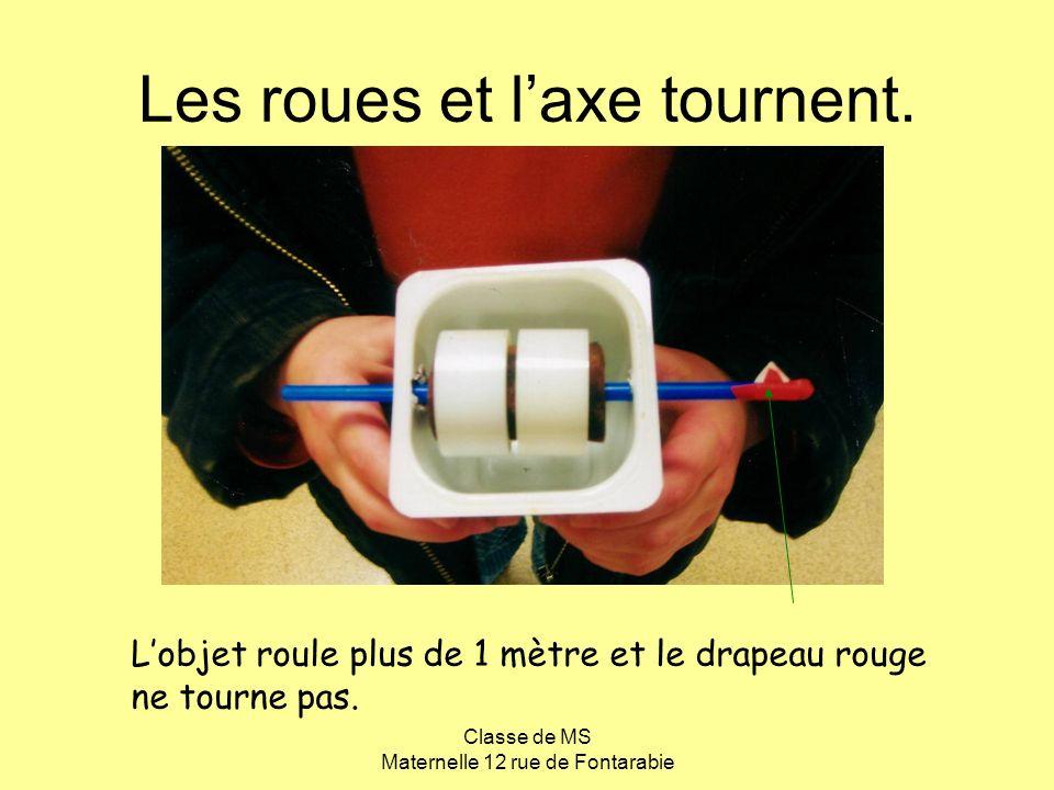 Classe de MS Maternelle 12 rue de Fontarabie Les roues et laxe tournent. Lobjet roule plus de 1 mètre et le drapeau rouge ne tourne pas.