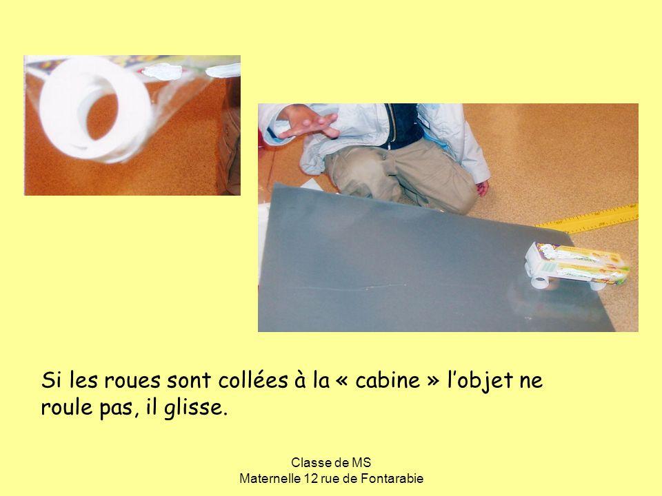 Classe de MS Maternelle 12 rue de Fontarabie Si les roues sont collées à la « cabine » lobjet ne roule pas, il glisse.