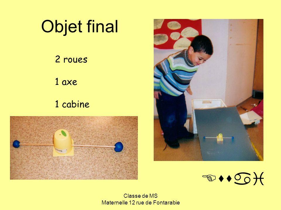 Classe de MS Maternelle 12 rue de Fontarabie Objet final 2 roues 1 axe 1 cabine Essai