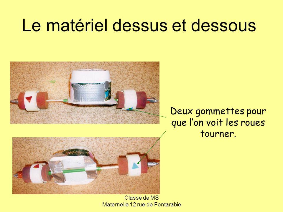 Classe de MS Maternelle 12 rue de Fontarabie Le matériel dessus et dessous Deux gommettes pour que lon voit les roues tourner.