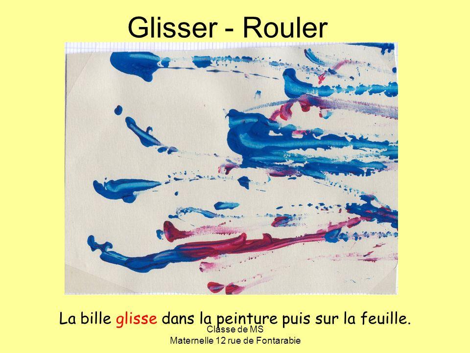 Classe de MS Maternelle 12 rue de Fontarabie Glisser - Rouler La bille glisse dans la peinture puis sur la feuille.