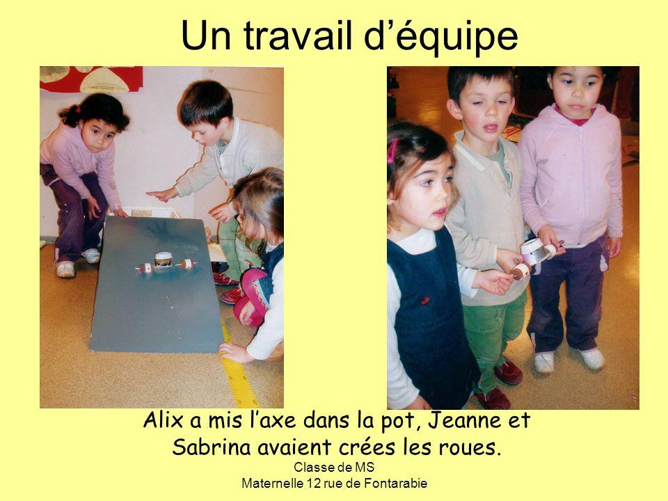 Classe de MS Maternelle 12 rue de Fontarabie Un travail déquipe Alix a mis laxe dans la pot, Jeanne et Sabrina avaient crées les roues.