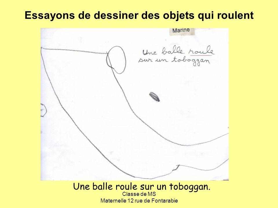 Classe de MS Maternelle 12 rue de Fontarabie Une balle roule sur un toboggan. Essayons de dessiner des objets qui roulent