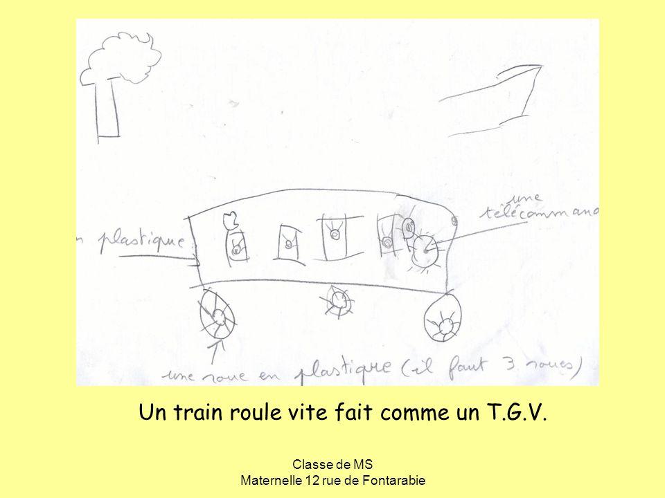 Classe de MS Maternelle 12 rue de Fontarabie Un train roule vite fait comme un T.G.V.