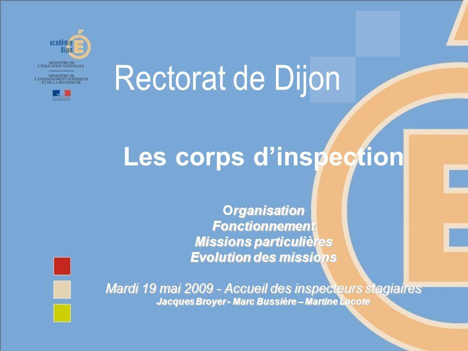 2 Organisation des collèges : Lensemble des corps dinspection est réparti en 3 collèges dans lacadémie de Dijon : Collège des IEN 1er degré : 36 inspecteurs (dont 4 IEN adjoints IA-DSDEN et 4 IEN-ASH) Collège des IA-IPR : 25 inspecteurs en résidence, 3 chargés de mission Collège des IEN 2nd degré : 18 IEN ET/EG (et 4 chargés de mission à temps partiel) + 1 IEN Formation continue + 4 IEN-IO Les collèges des inspecteurs du 2nd degré sont coordonnés, depuis plusieurs années, par un doyen et un co-doyen, élus par leurs pairs, puis proposés au recteur.
