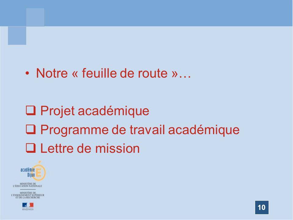 10 Notre « feuille de route »… Projet académique Programme de travail académique Lettre de mission