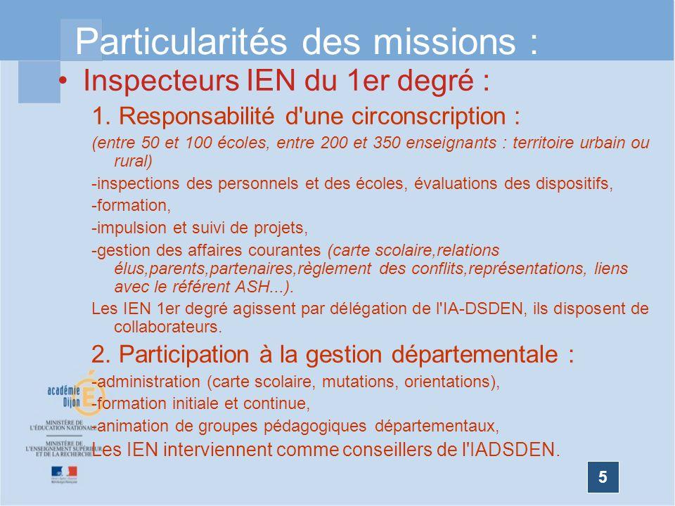 5 Particularités des missions : Inspecteurs IEN du 1er degré : 1. Responsabilité d'une circonscription : (entre 50 et 100 écoles, entre 200 et 350 ens