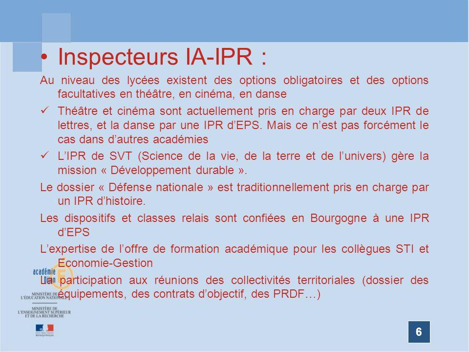 6 Inspecteurs IA-IPR : Au niveau des lycées existent des options obligatoires et des options facultatives en théâtre, en cinéma, en danse Théâtre et c