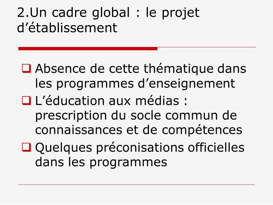 2.Un cadre global : le projet détablissement Absence de cette thématique dans les programmes denseignement Léducation aux médias : prescription du soc